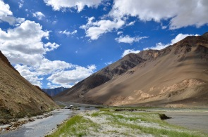 Water flooded Leh-Pangong roads