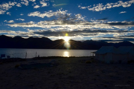 Sun rise in Pangong lake
