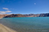 Pangong lake is green in the morning
