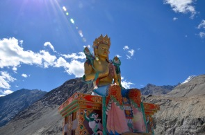 32 metre statue of Maitreya Buddha near Diskit Monastery facing down the Shyok River towards Pakistan
