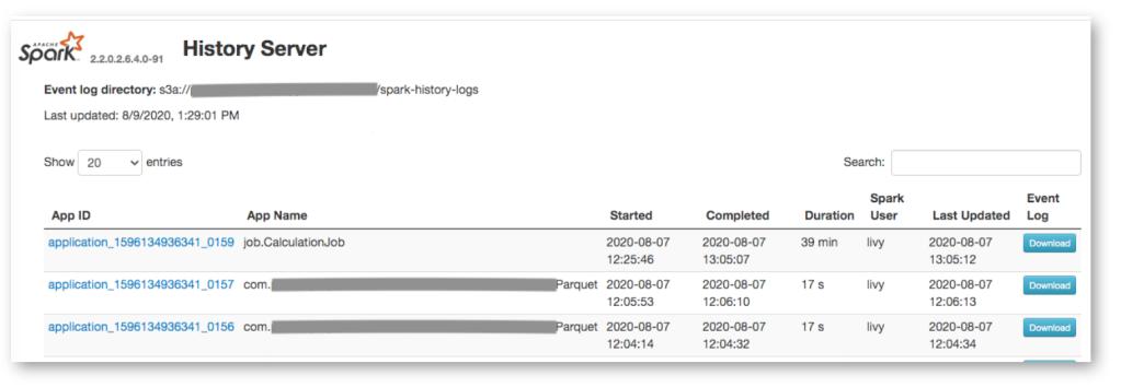 Spark History server UI